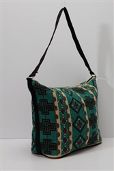 Tote Bag, Turquoise w/Crosses