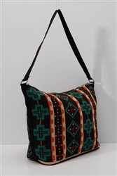 Tote Bag, Black & Turquoise Crosses