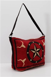 Tote Bag, Red w/Longhorn & Star