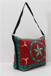 Tote Bag, Turquoise/Red Longhorn & Star