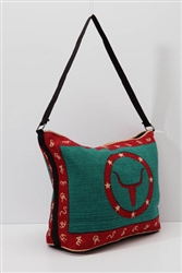 Tote Bag, Turquoise/Red Longhorn