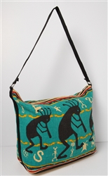 Tote Bag, Black w/Turquoise Kokopelli