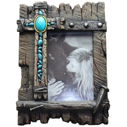 Photo Frame, Turquoise Cross