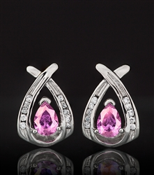 Designer Earrings, Pink Iridescent