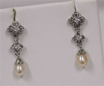 Designer Earrings, Dangling Pearl